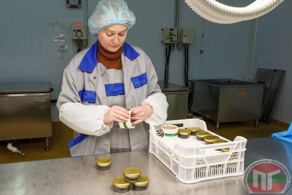 Мастер рыбопереработки осетрового комплекса Акватир Елена Ганган упаковывает баночки с черной икрой